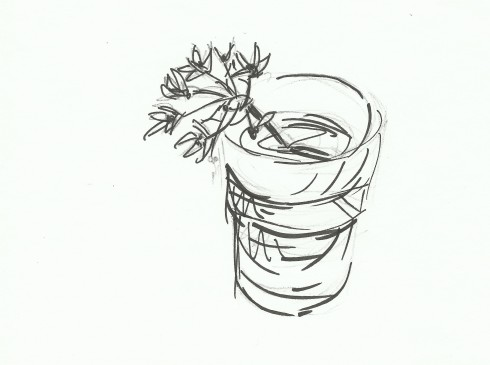 wild garlic in cup