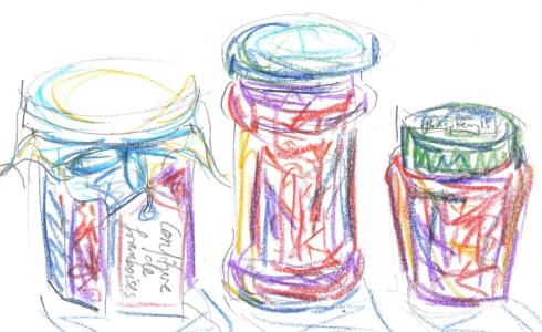 raspberry jam jars
