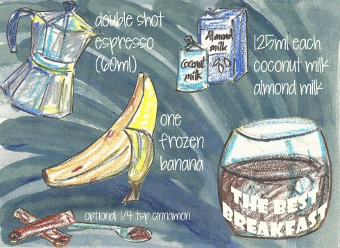 espresso banana smoothie - illustrated recipe