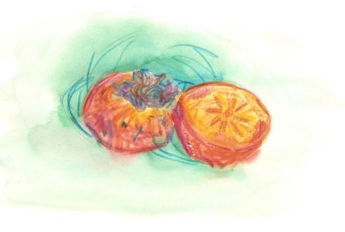 persimmon halves