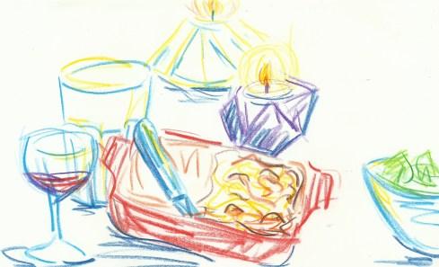 macaroni cheese, candles