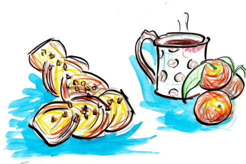 abrikossnitte coffee tangerine drawing