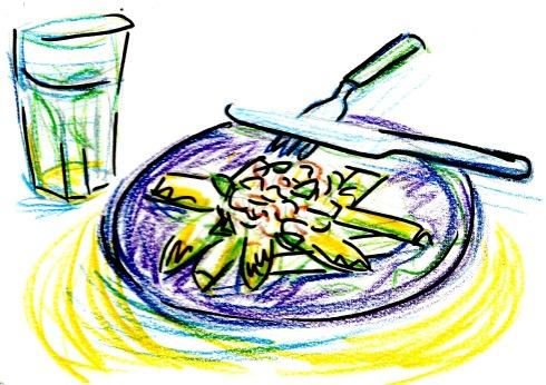 asparagus, miso butter